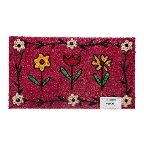Homescapes Schmutzfangmatte Fußmatte Blumen pink 45 x 75 cm (Breite x Länge) Türmatte aus 100{72c1defb8e22d3d77c58d3e06793dc2f4488fab9f1cd7b3a70f6640c557b0005} Kokosfaser mit rutschfestem Gummirücken strapazierfähiger Fußabtreter