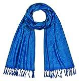 Maharanis Handgewebter Jacquard Seidenschal 100% Seide blau-grün 55cm x 180cm