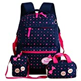 FOLLOWUS Leinwand Schulrucksack Schultertasche Mittagessen 3 Set für Jugendlich Mädchen (Navy Blue&Rose)