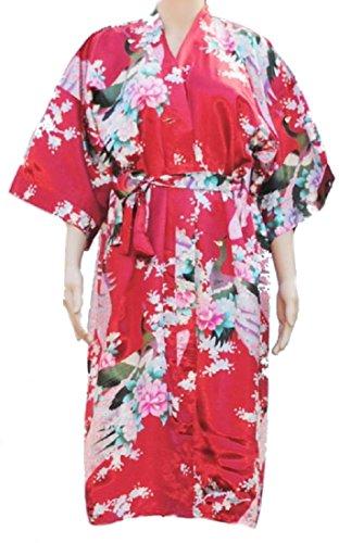 Damen Morgenmantel Bademantel Schlafanzuge Kimono Robe der Pfau Rot
