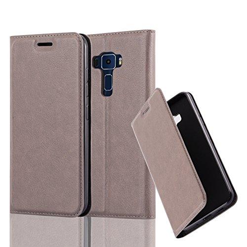 Cadorabo Hülle für ASUS ZenFone 3 - Hülle in Kaffee BRAUN – Handyhülle mit Magnetverschluss, Standfunktion und Kartenfach - Case Cover Schutzhülle Etui Tasche Book Klapp Style