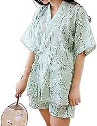 JYHTG Summer Floral Kimono Corto Pijamas Conjuntos para Mujeres 100% Algodón Japonés Sakura Pijamas Verdes
