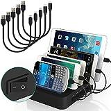 Ladestation Für Mehrere Geräte, USB Handy Ladestation mit Schalter und Kabel für Smartphone Tablet, 5 kurze Kabel Inkl. (Schwarz)