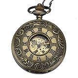 Orologio uomo da tasca Zeiger Orologio Steampunk scheletro meccanico orologi uomini Retro pendente orologio da tasca W346-M (Bronze)