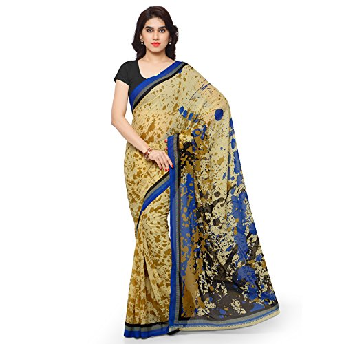 Desi Look women's beige georgette self printed saree with unstitched blouse  available at amazon for Rs.349