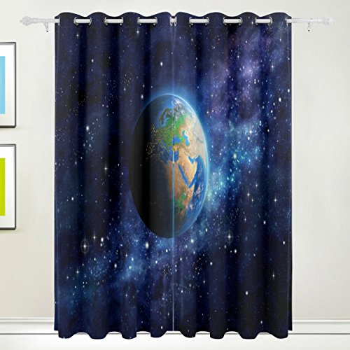 COOSUN Planet Erde im Weltall Verdunklungsvorhänge Abdunkelung isoliert Polyester Tülle Top Rollo Vorhang für Schlafzimmer, Wohnzimmer, 2Panel (55W X 84L Zoll), Polyester, Multicolor#1, 84x55 in (Vorhänge 84 Tülle Oben)