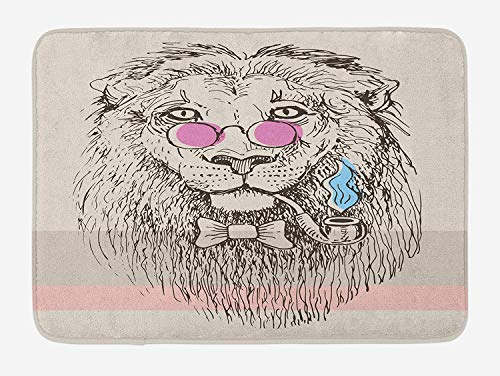 ZKHTO Animal Bath Mat, Magestic Lion Head Hipster Style Glasses Pipes Sketch Print, Plush Bathroom Decor Mat with Non Slip Backing, 23.6 W X 15.7 W Inches, Beige Black Baby Blue Pale Pink