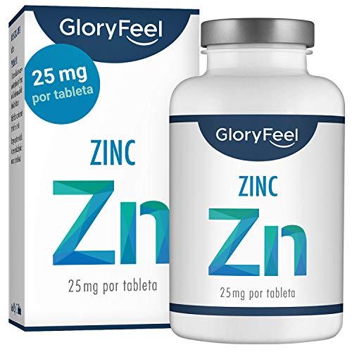 GloryFeel Zinc 25mg 400 Tabletas - Alta dosificación y vegano - 25 mg