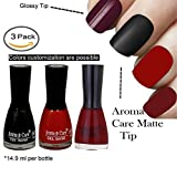 #5: Aroma Care Velvet Matte Nail Polish Black, Red and Maroon Colors by Aroma Care, 14.9 ml per bottle