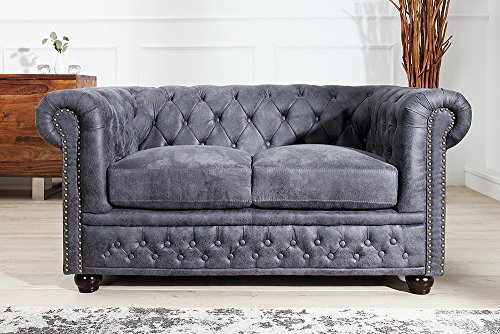 Invicta Interior Edles Chesterfield 2er Sofa Antik grau Knopfheftung Chesterfield Design Couch