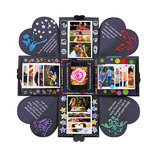 Foto (Queta DIY Fotoalbum, Überraschung Explosion Box Scrapbook Faltendes Foto-Album mit 6 Stück Aufkleber für Valentinstag, Hochzeit, Geburtstag, Festivalgeschenk)