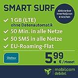 mobilcom-debitel Smart Surf mit 1GB LTE Internet Flat max. 21 MBit/s, 50 Frei-Minuten & 50 SMS in alle deutschen Netze, EU-Roaming, 24 Monate Laufzeit, monatlich nur 5,99 EUR, Triple-Sim-Karten