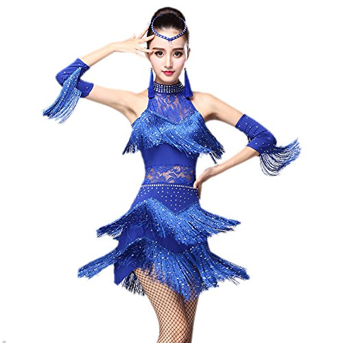 Honeystore 2017 Neuheiten Damen Quasten Swing Rhythmus Jazz Latein Dance Kleid Blau XL