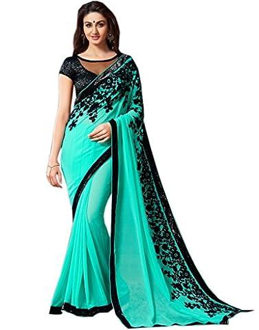 Shoppingover Festival Wear Georgette Saree in Green