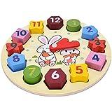 Toyshine Wooden Blocks Toys Digital Geometry Clock Baby Kids Early Education Puzzle Set