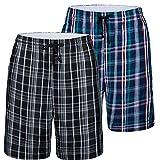 JINSHI Herren Schlafanzughosen Baumwolle Karierte Pyjamahose Nachtwäsche Sleep Hose Kurz Sommerhose 2er Pack Größe 2XL
