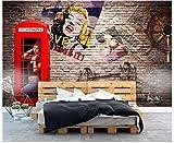 Apoart 3D Papier Peint Mur De Fond De Canapé Tv Rétro Original Nostalgique Marilyn Monroe450X300Cm(177.16By118.11In)