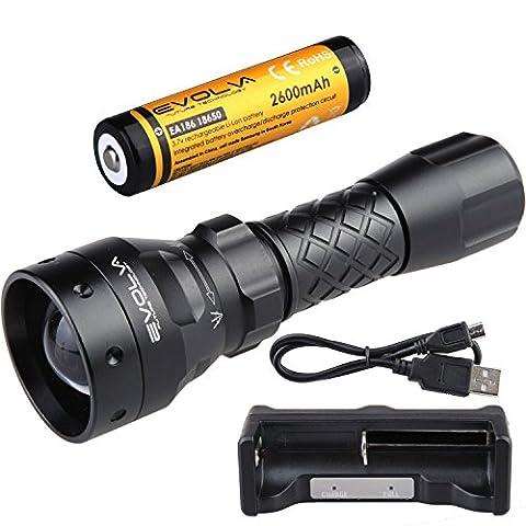 Evolva Future Technology T38 IR 38mm Objektiv Infrarot-Licht-Nachtsicht -Taschenlampe - Mit Nachtsichtgerät verwendet werden (Infrarot-Licht ist unsichtbar für das menschliche Auge) (Taschenlampe + Batterie + Ladegerät)