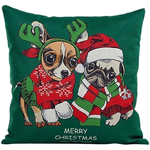FEITONG Navidad de la vendimia Santa Claus Sofá Cama Decoración Amortiguador de la cubierta Funda de almohada (P)
