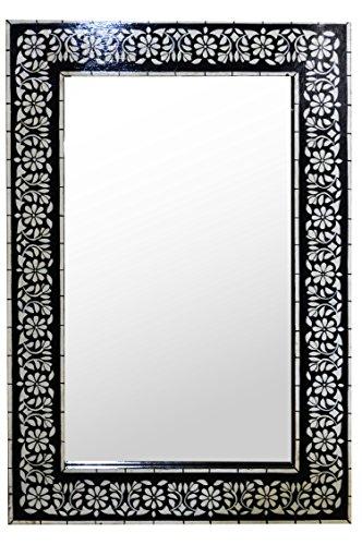 Orient Spiegel Wandspiegel Dilhan 90cm groß | Großer Marokkanischer Flurspiegel mit Holzrahmen...