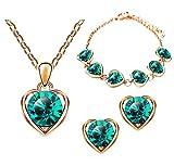 Mianova Damen 3 teiliges Set Rosegold IP in Herz Form mit runden Swarovski Elements Kristall - Ohrringe Armband und Kette Rose Grün