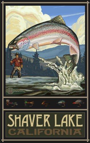 Northwest Art Mall Rasierer Lake California Rainbow Trout Fisherman Hills Kunstwerke von Paul A. lanquist, 27,9cm von 43cm