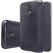Original Nillkin Sparkle Series PU leather Flip Case Phone Cover For Motorola Moto G4 Plus - black