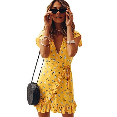 EMVANV Damen Kleid Medium (Dress Ruffled Wrap)