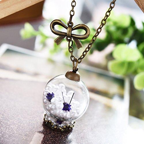 Jiayiqi Femmes Blanc Perles Collier Collier Pendentif Peu Floral Purple