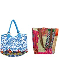 Indiweaves Combo Pack Of 1 Silk Kantha Tote Bag And 1 Cotton Shopper Bag (Pack Of 2) 8201482100-262-IW-P2