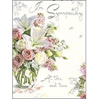 Sympathy Card (JJ4338) - In Sympathy - Bouquet Of Flowers - Silver Embossed