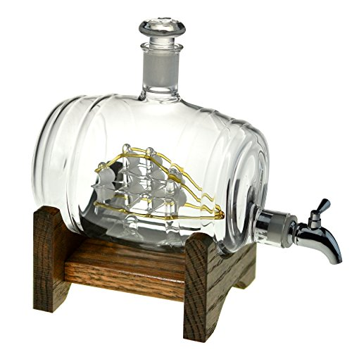 Bourbon decantador – Enjuague bucal/dispensador de licor – Decantador de cristal para Whisky, Vodka, Scotch, Tequila, Vino