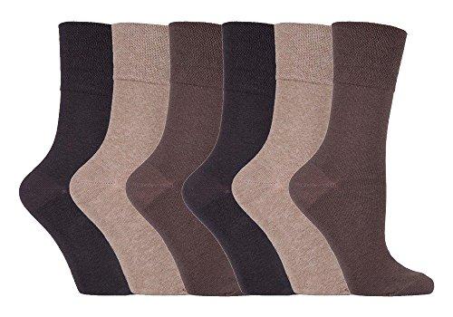 IOMI 6er pack damen ohne gummi weitschaft baumwolle socken/diabetikersocken in 7 farben (37-42 eur, Braun LA6) (Diabetiker Gepolsterte Socken)