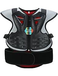 Pellor Protección Chaleco Espalda Cuerpo Protector de los Niños Anti-Caída Armadura para Ciclismo Montar en Bicicleta Esquí Monopatín (L, Negro)