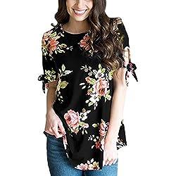 Hemd Damen Sunday Herbst Floral Print Kurzarm Hemd Casual Bluse Star T-Shirt Streifen Rundhals Tops Bluse Tee (XL, Schwarz)