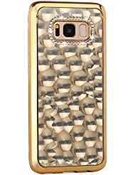Paillette Coque pour LG G5,Silicone Housse Etui pour LG G5,Leeook Luxe Élégant Noble 3D Bling Brillant Diamant Strass Shining Placage Cadre Acrylique Caoutchouc Doux en Ultra Slim Coquille Souple Gel TPU Bumper Antichoc Coque Housse Protection Cover pour LG G5 + 1 X Noir Stylet-Or