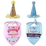 Eurobuy Sombrero de cumpleaños para Mascotas y pañuelo Tipo Bandana para Las Fuentes de la Fiesta de cumpleaños de los Cachorros de Perros, el Traje de cumpleaños para Perros y el Juego de decoración