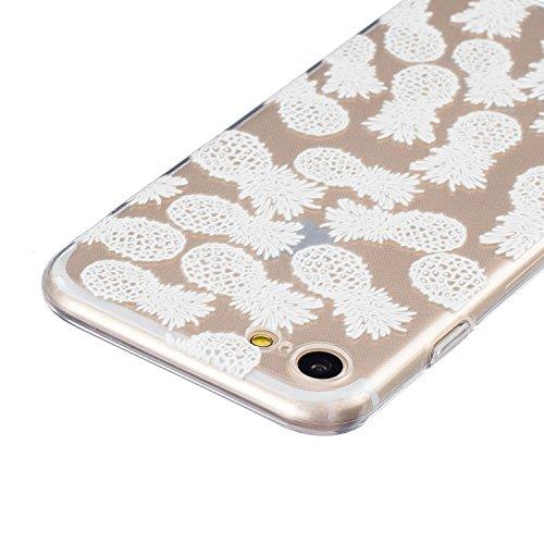 SainCat Custodia per Apple iPhone 7 Cover,Ultra Slim trasparente TPU Crystal Clear Morbido Copertura Case Cover per iPhone 7,Disegni Lusso Vans Belle Creative Marvel Fantasia Campanula Puro Trasparent Bianco-ananas