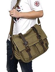 KIPTOP® -2016 Otoño/Invierno Moda Nuevo bolsos bandolera estilo de la vendimia de la lona unisex del mensajero del bolso de hombro de cuero del hombro del bolso del mensajero