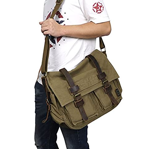 Cooler Mens Boys Vintage Canvas Shoulder Military Messenger Bag school Bags 35cm X 30cm X 10cm, 1cm = 0.3937inch