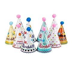 Idea Regalo - NUOLUX Torta compleanno partito cono Cappelli con pon pon per i bambini, 10pz