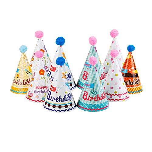 Preisvergleich Produktbild NUOLUX Partyhüte,Party Kegel Hüte mit Pompons für Kinder, 10pcs