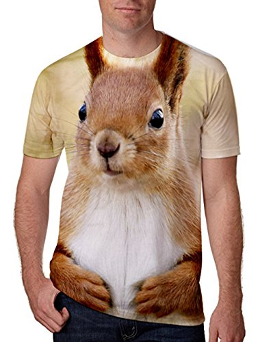 Chicolife 3D Tier Gedruckt Kurzarm Tops für Junge Herren Unisex Hip Hop T-Shirts XL (T-shirts Gedruckt Herren)