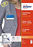 Avery 50 Badges en Plastique Combi (Pince métal/Epingle) + 50 Inserts Microperforés - 54x90mm - Transparent (4820)