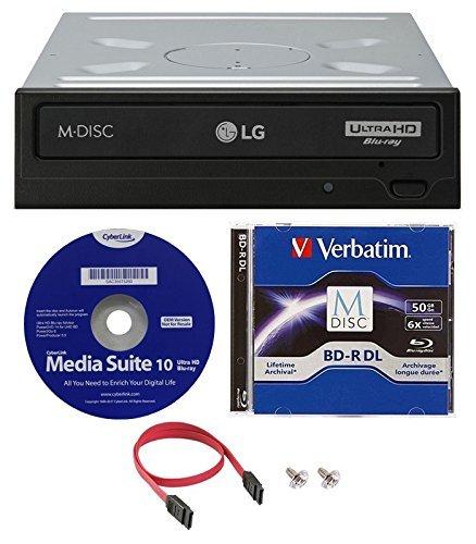 LG WH14NS40 Interner Blu-Ray-Brenner Bundle mit Nero Essentials Brennsoftware und Kabelzubehör 50GB Verbatim MDisc BD-R DL Bundle