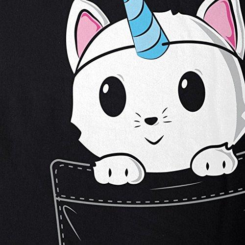 style3 Unicorn Pocket Cat Damen T-Shirt Einhorn Katze Brusttasche Schwarz
