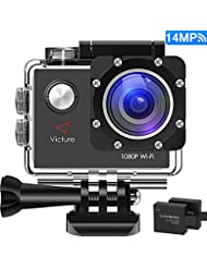 Victure Action Kamera WIFI 14MP Full HD 1080P Helmkamera Motorrad Sports Action Camera Cam 2.0 Zoll Wasserdichte Unterwasserkamera mit 170° Weitwinkel, 2 Verbesserten Batterien und Zubehör Kits