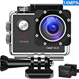 Victure Sports Action Camera WIFI 14MP Full HD 1080P Waterproof Motorcycle Helmet Cams 30M Underwater Diving Camera with 2 Inch LCD Screen 170° Wide Angle Lens 2 Pcs Rechargeable Batteries
