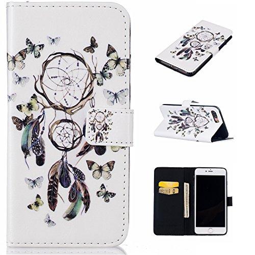 iPhone 7 Plus Hülle, iPhone 8 Plus Hülle, iPhone 7 Plus / 8 Plus Hülle Muster, iPhone 7 Plus / iPhone 8 Plus Leder Wallet Tasche Brieftasche Schutzhülle, BONROY 3D Bunte Retro Muster Ledertasche Elega Schmetterling Campanula