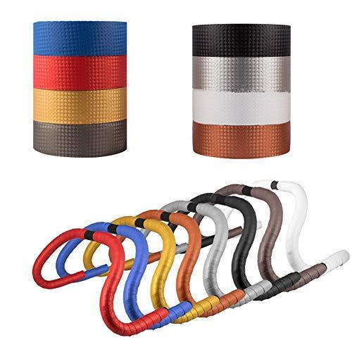 EODUDO-S Kohlefaser PU Leder Rennrad Lenker Klebeband Bänder Bike Bar Wraps 2 STÜCKE, Weitere Stile (Farbe : Silber)